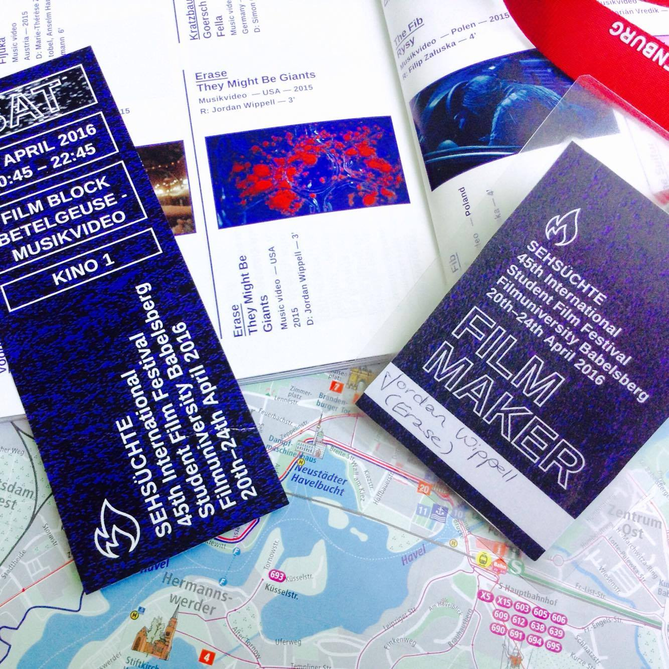 Filmmaker pass, tickets and map.