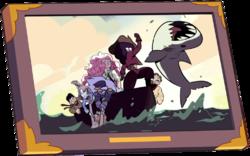 Garnet punching a shark.