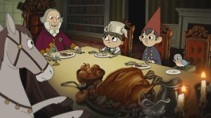 Greg, Wirt, and Beatrice eat dinner with new acquaintances.