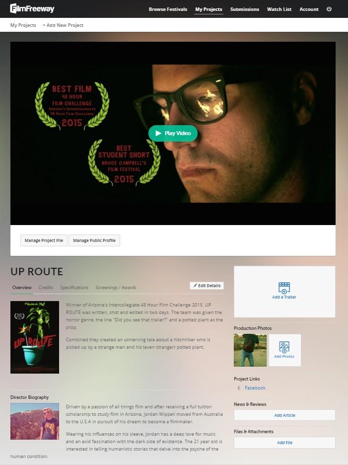 FilmFeeway film profile page