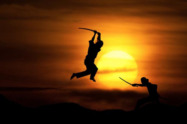Sunset-Silhouettes-Ninja